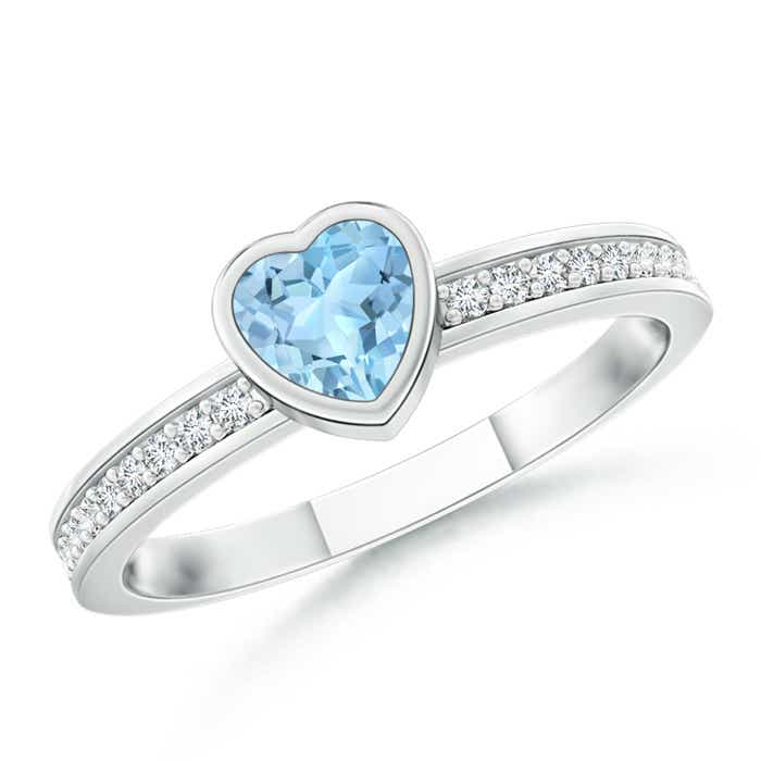 Angara Bezel Heart Aquamarine Promise Ring with Diamond Accents 6gu4B