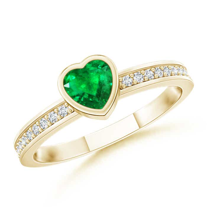 Angara Solitaire Bezel Heart Emerald Ring with Diamond lFQcGOONJY