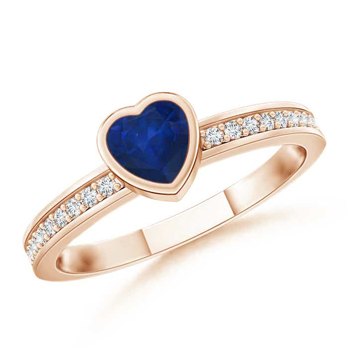 Angara Solitaire Bezel Heart Blue Sapphire Ring with Diamond in Rose Gold SLPOrM7