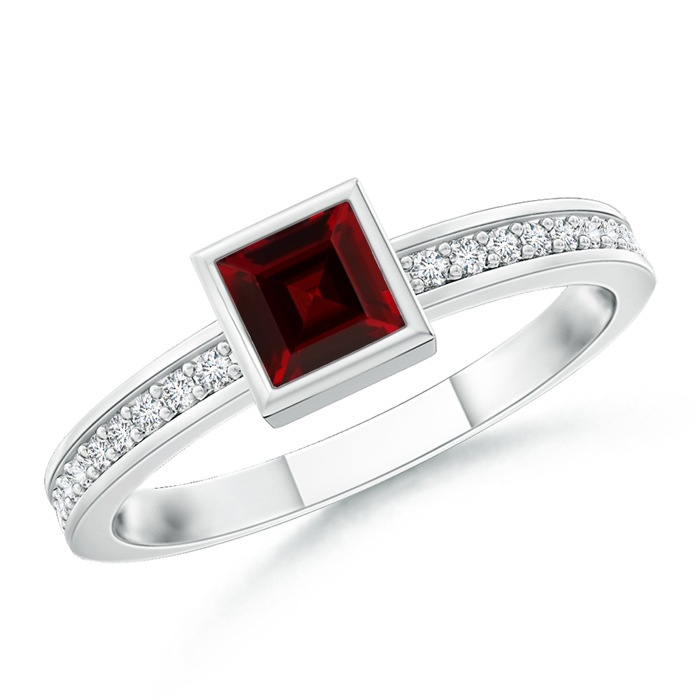 Angara Bezel-Set Solitaire Square Garnet Stackable Ring 6m6lgQnU