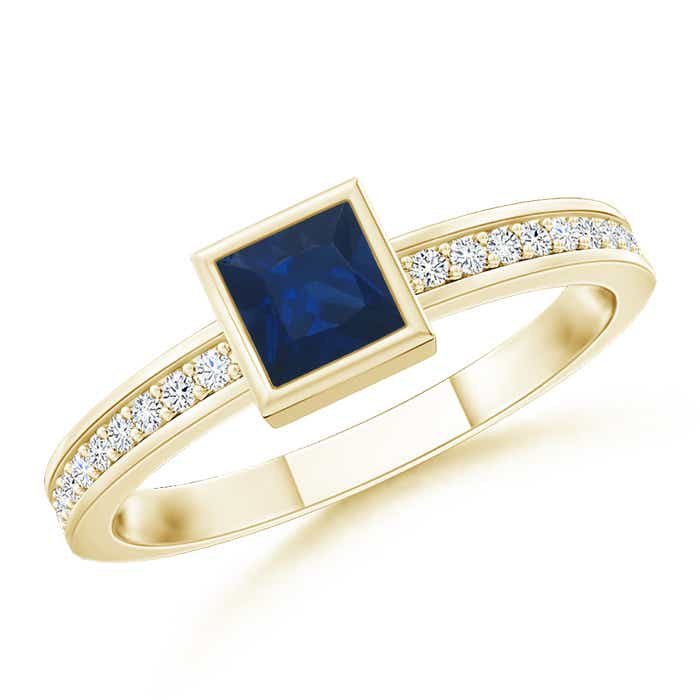 Angara Square Blue Sapphire and Diamond Halo Promise Ring vOcAF4O