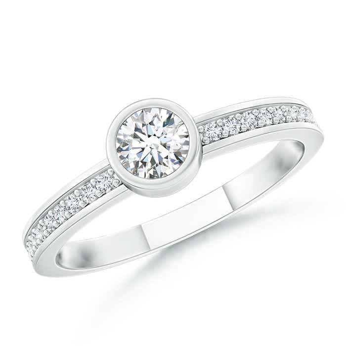Angara Bezel-Set Round Diamond Stackable Ring