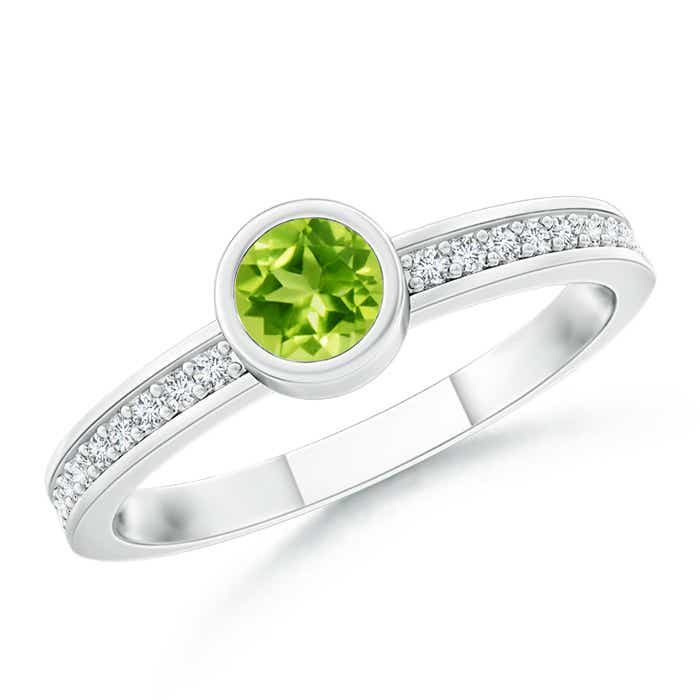 Angara Semi Bezel Dome Emerald Ring with Diamond Accents in 14K Yellow Gold ASR7z5MQ