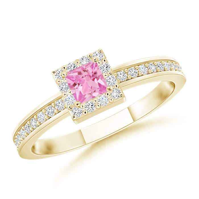Angara Diamond Halo Blue Sapphire Stackable Ring in Rose Gold 2HlydcO