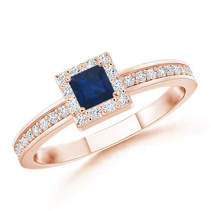 Angara Diamond Halo Blue Sapphire Stackable Ring in Yellow Gold EmAKzp3
