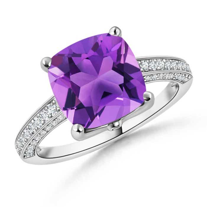 Angara Cushion Amethyst Cocktail Ring with Diamond Accents in Platinum EnJY4jJDt3