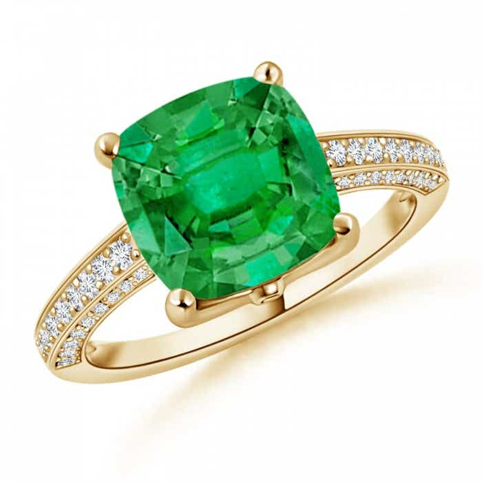 Angara GIA Certified Cushion Colombian Emerald Ring with Diamonds DLyW1kEIe