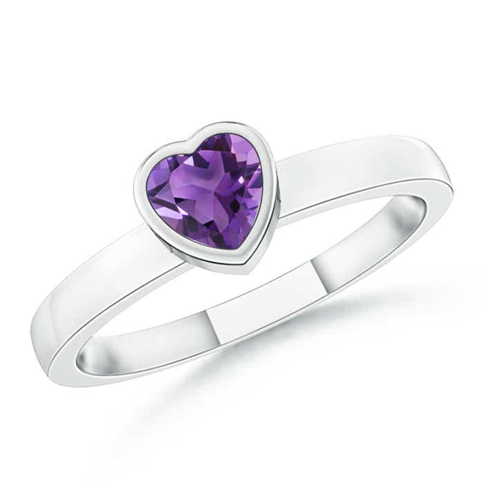 Angara Natural Amethyst Solitaire Engagement Ring in Platinum rQ4JC