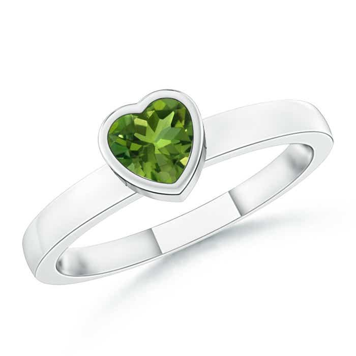 Angara Peridot Halo Promise Ring in Platinum