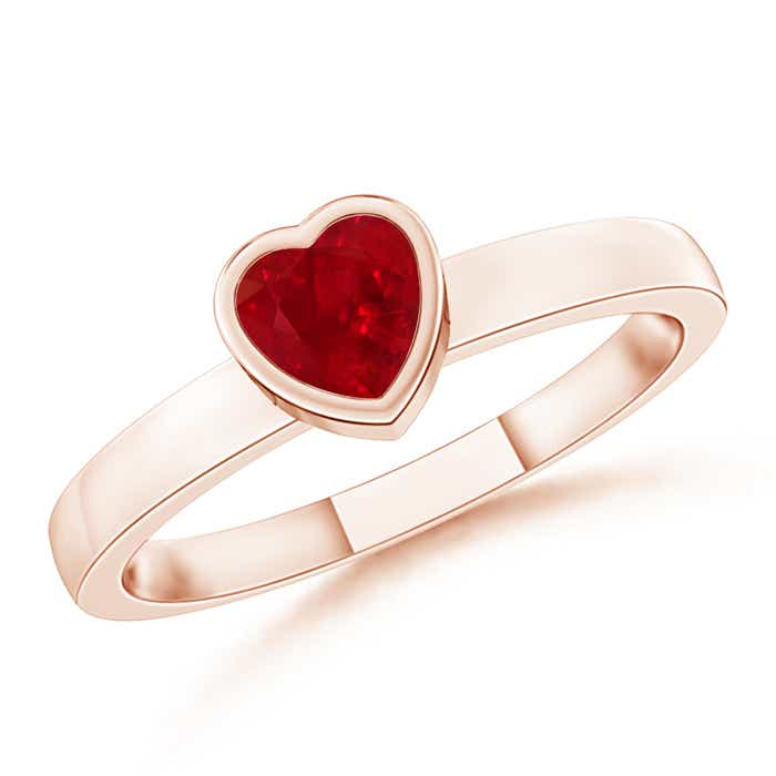 Angara Solitaire Round Ruby Promise Ring in Rose Gold Czy90r