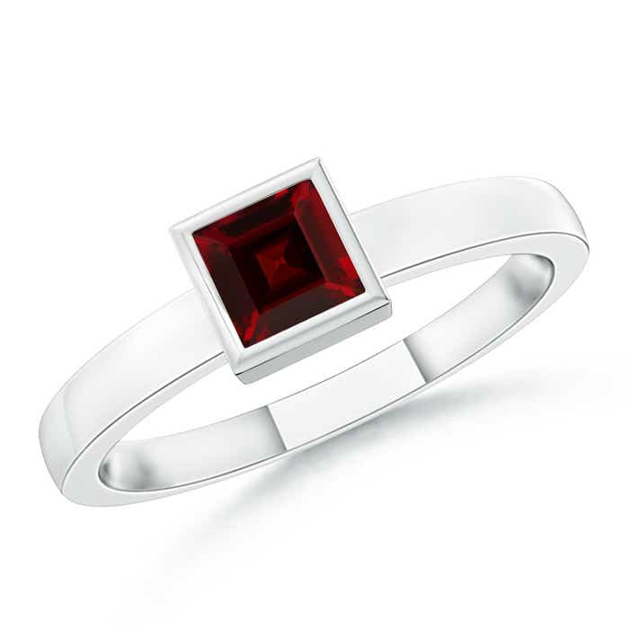 Angara Square Garnet and Diamond Promise Ring in 14k White Gold XpL7276
