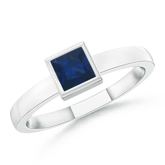 Angara Bezel-Set Square Blue Sapphire Stackable Promise Ring in Platinum