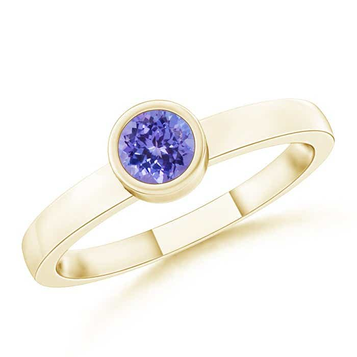 Angara Solitaire Bezel Round Tanzanite Promise Ring in Rose Gold 0rSCJtW