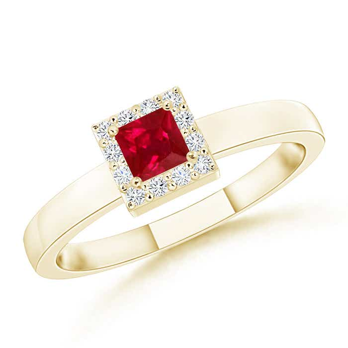 Angara AAA Square Ruby and Diamond Promise Ring in Rose Gold zniqRI