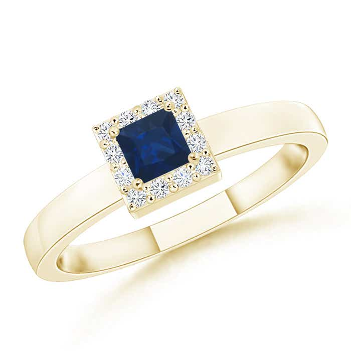 Angara Solitaire Square Blue Sapphire Promise Ring in White Gold Nmq0zIzGu