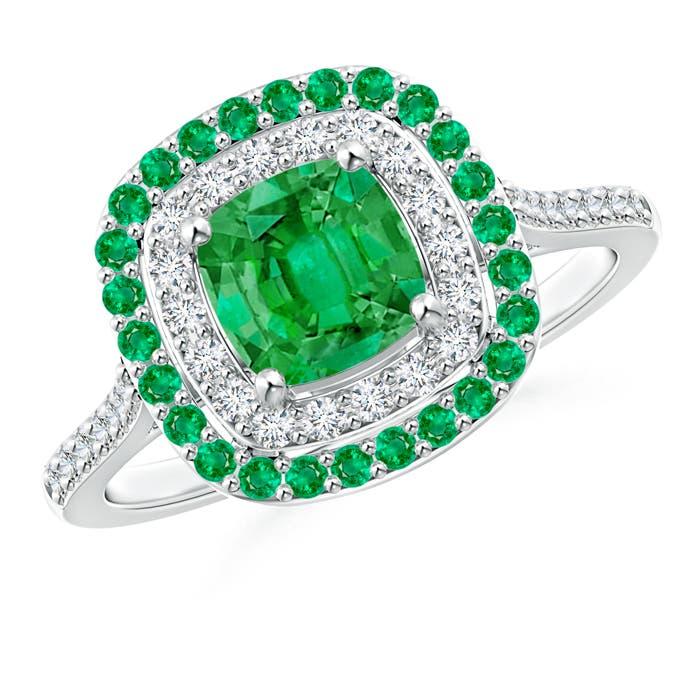 Angara Emerald Halo Engagement Ring With Diamond Studded Shoulders Sa6KLA
