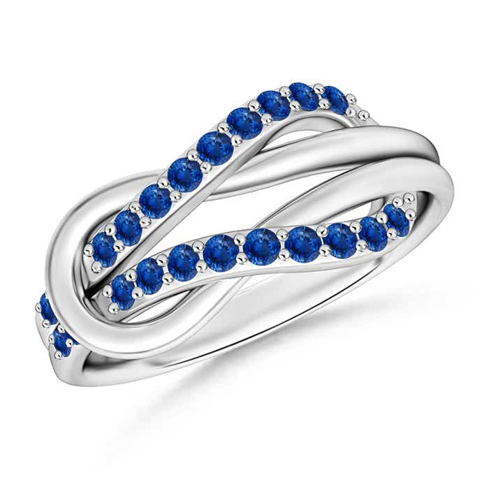 Angara Blue Sapphire and Diamond Love Knot Ring in Yellow Gold RdCUd