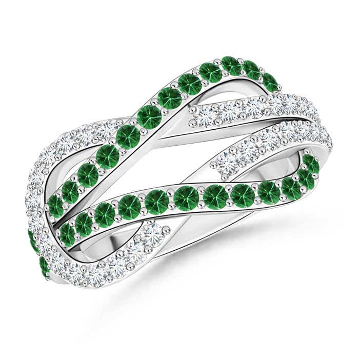 Angara Encrusted Tsavorite and Diamond Infinity Knot Ring QllWTo8CdS