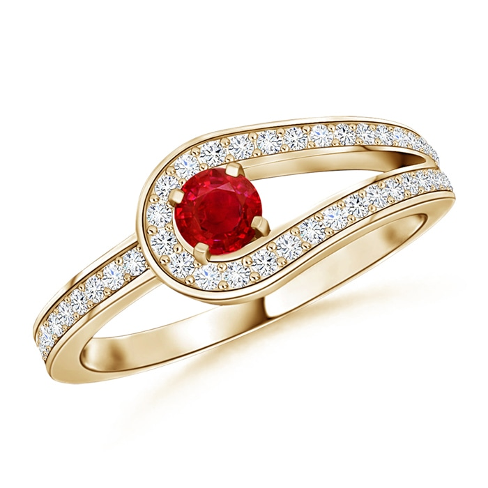 Angara Emerald Loop Knot Ring in Platinum H6qSQqRGo