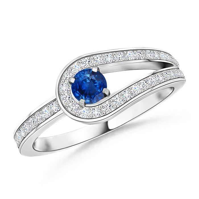 Angara Solitaire Blue Sapphire Infinity Knot Ring in White Gold a50D4