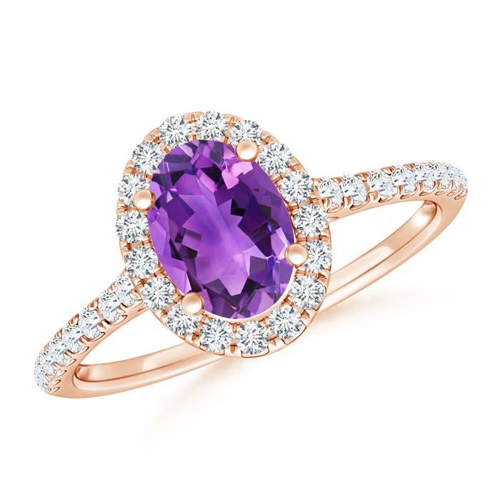 Angara Deco Inspired Oval Morganite and Diamond Halo Ring M7oWyM