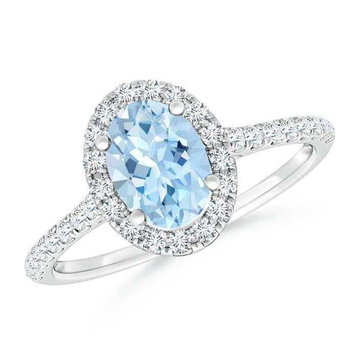 Angara Aquamarine Halo Engagement Ring With Matching Diamond Band White Gold dUwMBs7