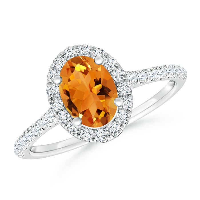Angara Oval Citrine Ring with Matching Diamond Band in White Gold 5OEYXjL