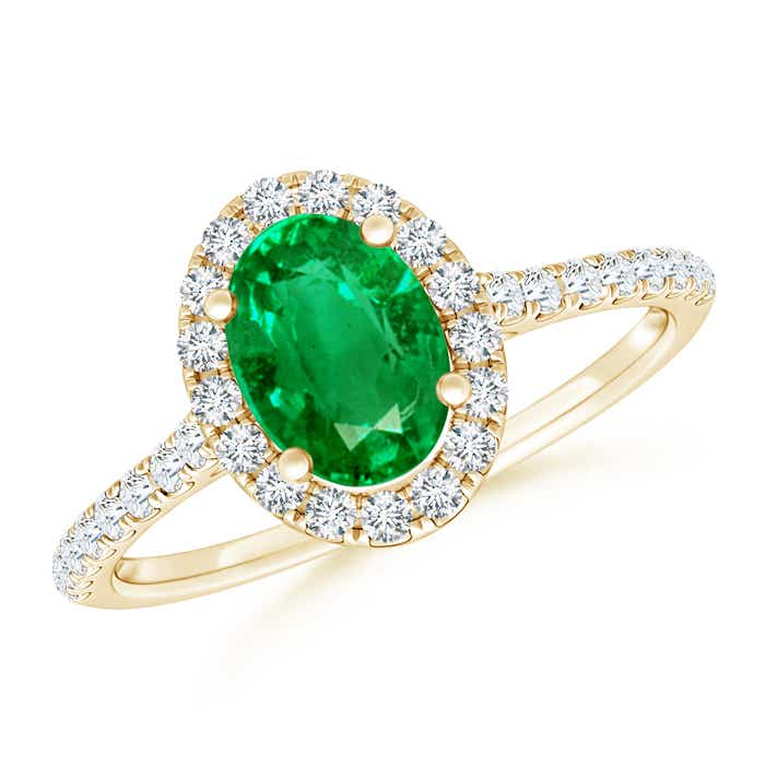Angara Emerald Ring with Diamond Halo in Yellow Gold 9gjNQMBo