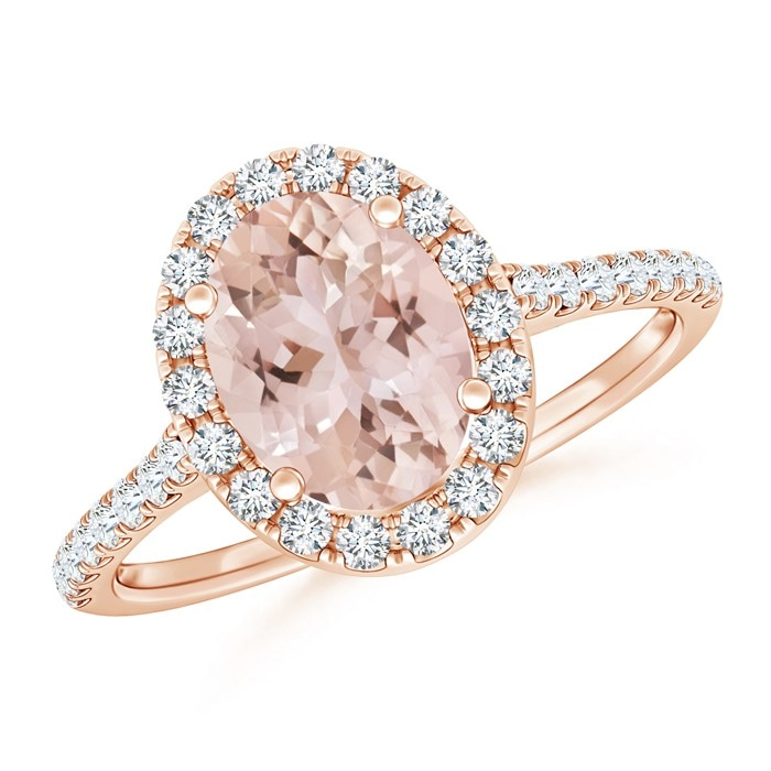 Angara Oval Morganite Halo Engagement Ring in White Gold FMbPKUwj4c