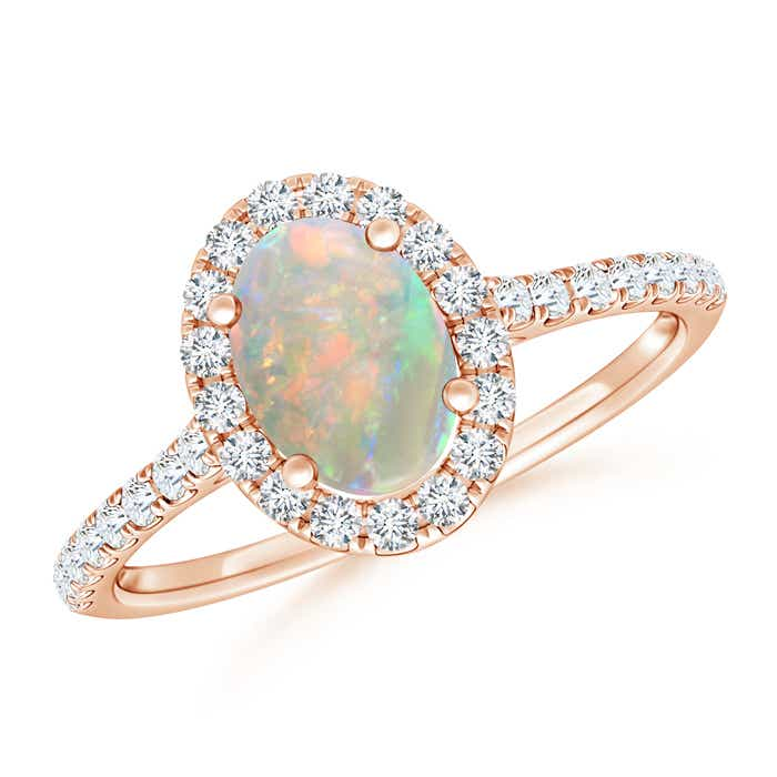 Angara Oval Opal Halo Ring with Milgrain Diamonds