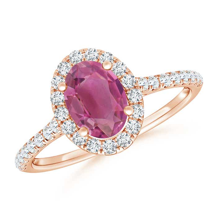 Angara Prong Set Oval Pink Tourmaline Halo Ring in 14K Yellow Gold CasvT26xD