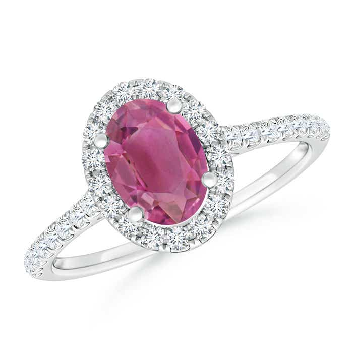 Angara Oval Pink Tourmaline Diamond Ring in Rose Gold venMf