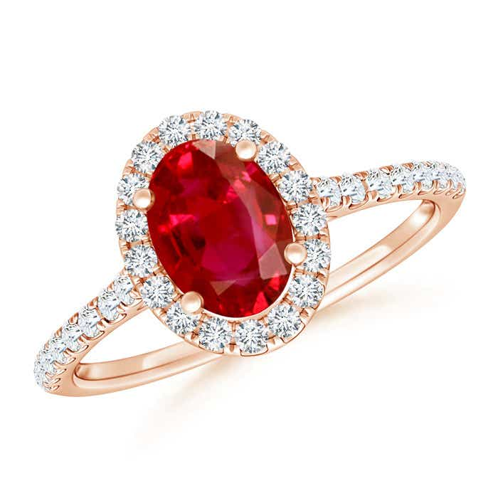 Angara Oval Ruby Halo Ring in Rose Gold IrY6AuU