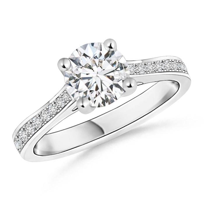 Angara Round Diamond Cathedral Ring in White Gold