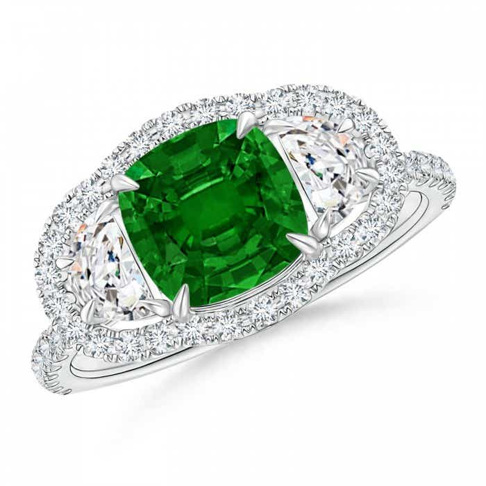 Angara Natural Emerald and Half Moon Diamond Three Stone Ring in Platinum