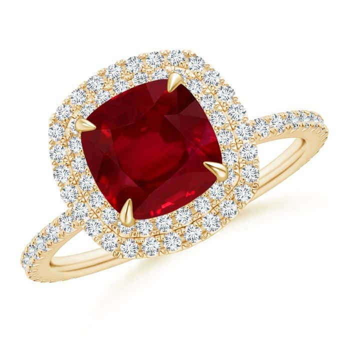 Angara GIA Certified Cushion Ruby Double Halo Ring v9KRBp