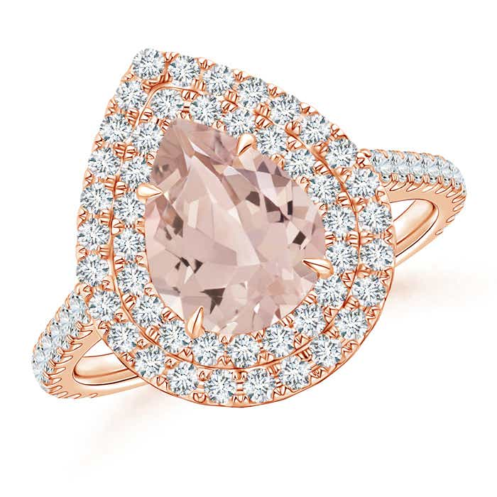 Angara Pear Shaped Morganite Double Halo Ring in Yellow Gold 2FFNjbG