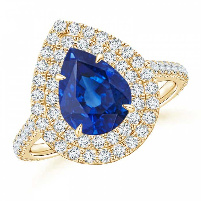 Angara GIA Certified Pear-Shaped Sapphire Ring with Diamond Halo