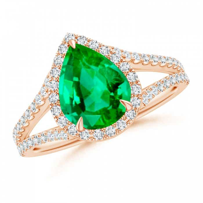 Angara Emerald Ring - Emerald Halo Split Shank Ring (GIA Certified Emerald) L5E6IfG