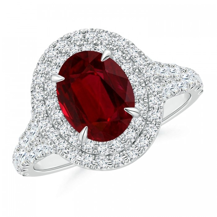 Angara Ruby Ring - GIA Certified Oval Ruby Split Shank Ring with Floral Halo 2caCw