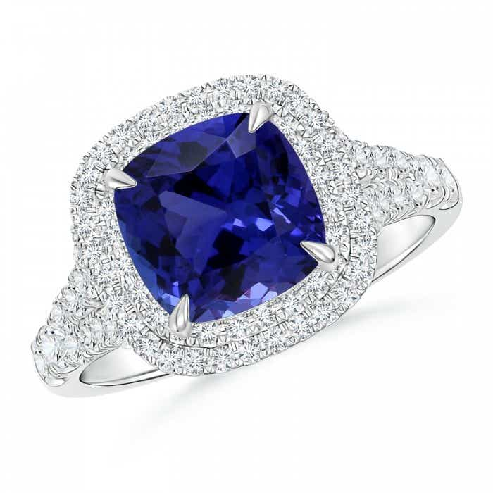 Angara Sapphire Ring - GIA Certified Cushion Blue Sapphire Halo Ring XsODGJ9L