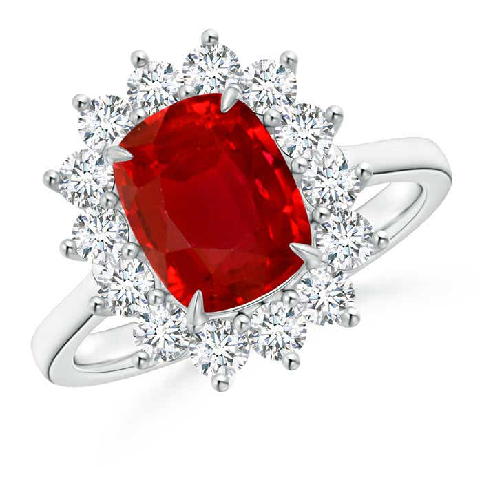 Angara Floral Diamond Halo Cushion Ruby Claw Ring in 14k Yellow Gold AOywG9N6