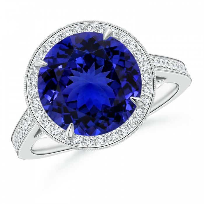 Angara V-Prong Tanzanite and Diamond Cathedral Ring in Platinum r8VBdCrX