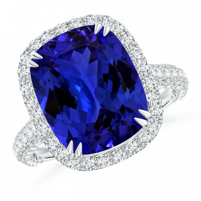 Angara Tanzanite Ring - Tanzanite and Diamond Cocktail Ring (GIA Certified Tanzanite) RHenqPP