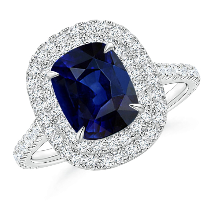 Angara Diamond Double Halos Blue Sapphire Engagement Ring in White Gold TQYE1aFw
