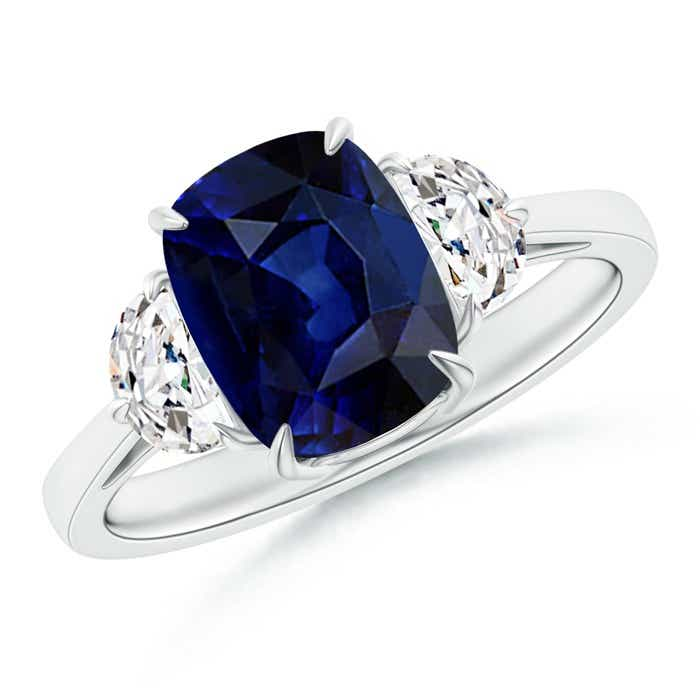 Angara Cushion Sapphire and Diamond Three Stone Ring in Platinum QMoEnNdU