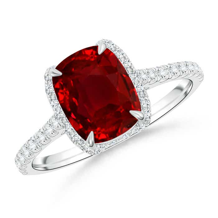 Angara Diamond and Ruby Framed Halo Engagement Ring in White Gold gsKTR4HuMF