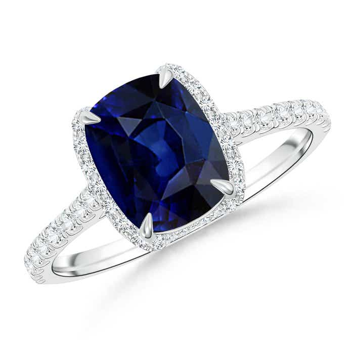 Angara Diamond Halo Cushion Blue Sapphire Ring T1K77Kr