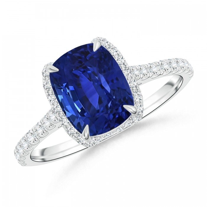 Angara Diamond Halo Cushion Blue Sapphire Ring in Yellow Gold D7pfXU2