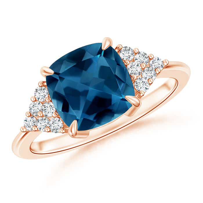 Angara Cushion London Blue Topaz Ring with Cluster Diamond Accents